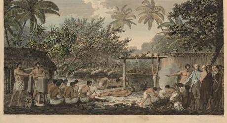 Cérémonie sur le Marae TAPUTAPUATEA de PUNAAUIA